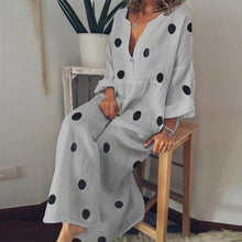 Polka Dot Maxi Dress V-neck Long Sleeve Casual Boho Beach Dress Plus Size - Center Of Treasures