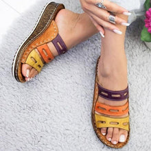 Women Sandals Slippers Flat Sole Shoes Mixed Color Hollow Wedges Beach Mules Ladies Slides Party - Center Of Treasures
