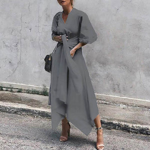 Long Maxi Dress Plus Size Summer V Neck Asymmetrical Sashes High Waist Short Sleeves Solid Shirt Dresses - Center Of Treasures