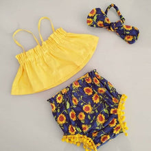 Summer Toddler Baby Girls Clothes Sets Off Shoulder Tops Shorts Flower Headband 3pcs Casual Cotton Girl 0-24M