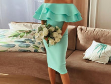 Ruffles Evening Dress Bodycon Off Shoulder Summer Women Mint Sexy Club Dress