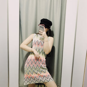 Shirt Dress Outfit Street Style Summer Streetwear Patchwork O Neck Sleeveless Striped Clothes High Waist Dress - Center Of Treasures