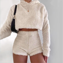 2pcs/sets Sexy Fluffy Suits Velvet Plush Sleepwear Shorts+crop Top Women Tracksuit Casual Sports Set Overalls Sweatshirts