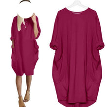 Pocket Loose Dress Casual Plus Size Long Tops Dress Big Crew Neck - Center Of Treasures