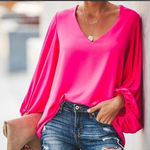Lantern Sleeve Women Blouse Loose Casual Long Shirts Elegant Plus Size Tops Sexy V-neck Blouses Office Ladies Smooth - Center Of Treasures