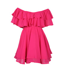 Off Shoulder Mini Dress Ruffle Floral Elegant Fit Flare Casual Dress Solid Summer Dress