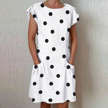 Dot Dress Plus Size Casual Pocket Crew Neck O-neck Short Sleeve Printed Polka