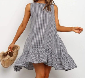 Casual Summer Dress Loose Off Shoulder Sundress Plus Size Ruffle Beach Dress Boho Plaid O Neck