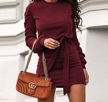 Women Mini Dresses Casual Long Sleeve O Neck Sweatshirt Dress Bandage Solid