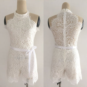 Women Playsuit Off Shoulder Halter Elegant Lace Evening Black White Plus Size