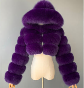 Fur Jacket Coats Women Tops Fluffy Cropped Faux Female Hooded Winter