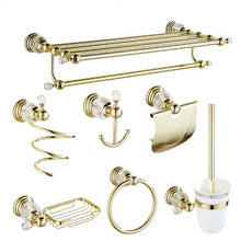Bathroom Accessories Set Antique Gold Brass Polished Bathroom Hardware Set Crystal Clear Luxury - Center Of Treasures