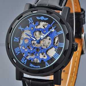 Mechanical Skeleton Leather Hollow Watch Skeleton Fashion Mechanical Hand Wind Men Luxury Male Business Leather Strap Wrist Watch - Center Of Treasures