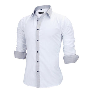 Men Shirts Europe Size Slim Fit Male Shirt Solid Long Sleeve British Style Cotton Men's Shirt - Center Of Treasures