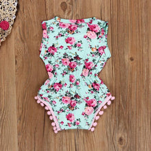 Newborn Toddler Baby Girls Floral Romper Jumpsuit Sunsuit Clothes Set Girls flower print baby GIRLR Romper With Tiara - Center Of Treasures