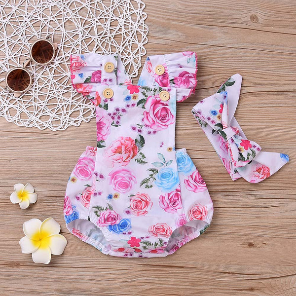e49abebf4ad ... newborn baby boutique vintage floral romper jumpsuit Girl Bloomer  Ruffle Romper Kids clothes matched headband ...