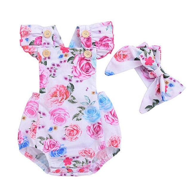 Newborn Baby Boutique Vintage Floral Romper Jumpsuit Girl Bloomer Ruffle Romper Kids Clothes Matched Headband - Center Of Treasures