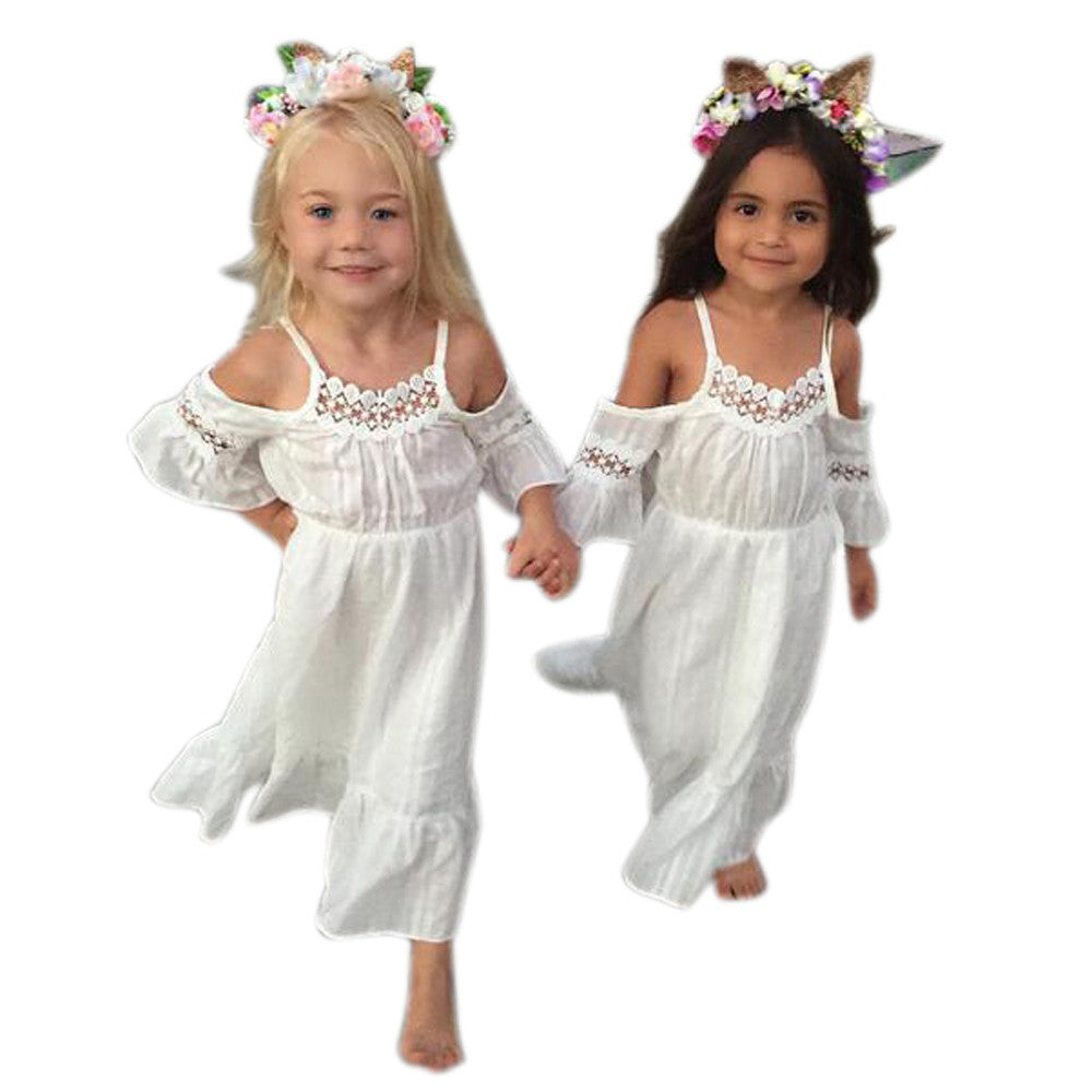 Pageant White Cute Lace strapless Dresses for kids Girl Clothes Summer Beach Clothing Party Dress Princess Kids Baby Girls - Center Of Treasures