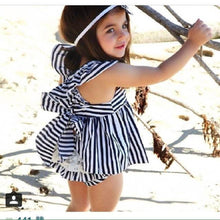 Fashion Baby - Striped Backless Summer Outfit Backless Dress Bow Cotton Briefs 2Pcs Set Clothing - Center Of Treasures