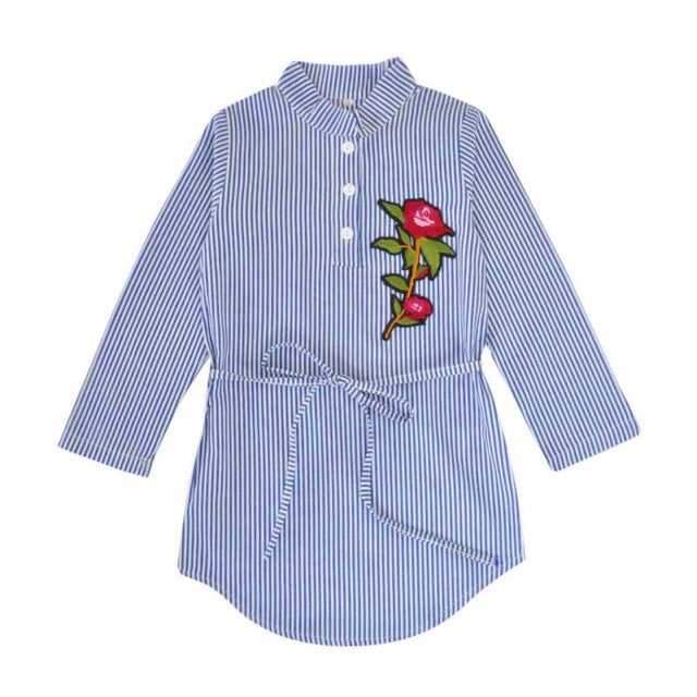 Fashion Baby Kids Girls Flower Rose embroidery Appliques Stripe Dress Princess Belt Dresses Kids Clothes Toddler Outfits - Center Of Treasures