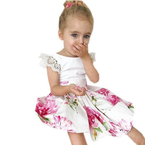 Toddler Kids Girls Clolthes Lace Floral Print Princess Dress+Headband 2Pcs Sets Summer Petal Sleeve Cute Baby Girls Sundress - Center Of Treasures