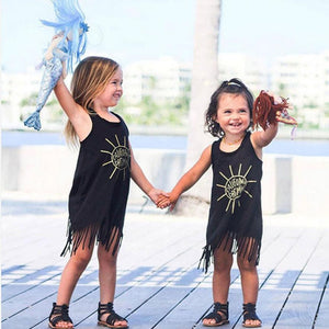 2017 New Hot Sale Toddler Kids Baby Girl Summer Clothes Sleeveless Tassel Mini Dresses Letter Sun Print summer Children clothes - Center Of Treasures