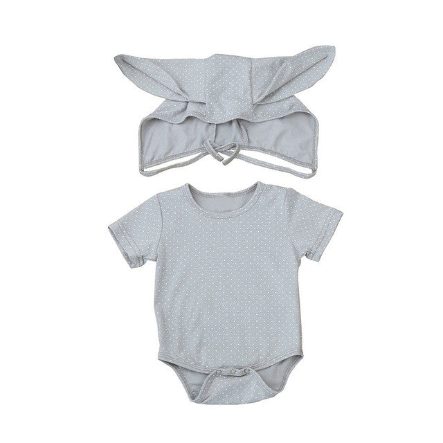 2PCS Rompers+Hat Baby Boys Girls Clothing Set Cute Rabbit Ear Newborn Romper Jumpsuit Fashion Cotton Infant Kids Clothes 0-24M - Center Of Treasures