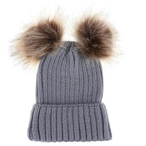 Baby Girl Hat Raccoon Fur Two Ball Caps For Baby Parent-child Caps Cute Infant Baby Pompon Winter Hat Double Fur Ball Hat Mother Kids Warm Knitted Hat Newborn Beanie Cap - Center Of Treasures