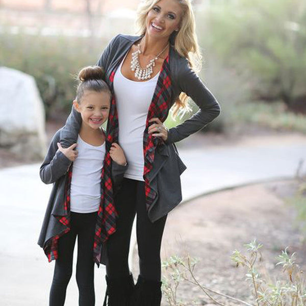 Mother And Daughter Plaid Cardigan Mother Daughter Matching Outfit Cotton Cardigan Sweater Pullover Outwear windbreaker Children Kids girls Fall Spring - Center Of Treasures