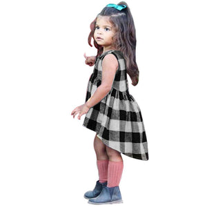 Toddler Kids Baby Girls Clothes Plaid Sleeveless Pageant Party Princess Dress - Center Of Treasures