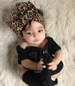 Trendy Kids Baby Girls Clothes off shoulder summer letter print short sleeve Bodysuit Leopard Headband 2pc cotton casual set - Center Of Treasures