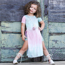 Toddler Kids Baby Girls Clothes Short Sleeve Pageant Party Princess Slit Dress - Center Of Treasures