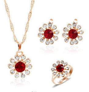Jewelry Sets African Bridal Gold Color Necklace Earrings Ring Wedding Crystal Serenade Women Fashion Jewelry Set - Center Of Treasures