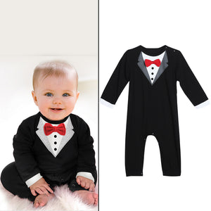 Toddler Handsome Baby Pompers Cool Boy Clothes Baby Long Sleeve Suit Infant Jumpsuit GentlemenBlack Bowknot Rompers Formal Suit - Center Of Treasures