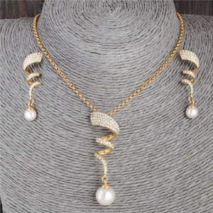 Vintage Imitation Pearl necklace Gold jewelry set for women Clear Crystal Elegant Party Gift Fashion Costume Jewelry Sets - Center Of Treasures