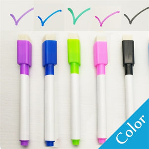 5Pcs/lot Colorful black School classroom Whiteboard Pen Dry White Board Markers Built In Eraser Student children's drawing pen - Center Of Treasures