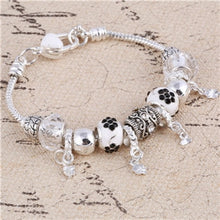 Pink Crystal Charm Silver Bracelets & Bangles for Women With Murano Beads Silver Bracelet Femme Jewelry - Center Of Treasures