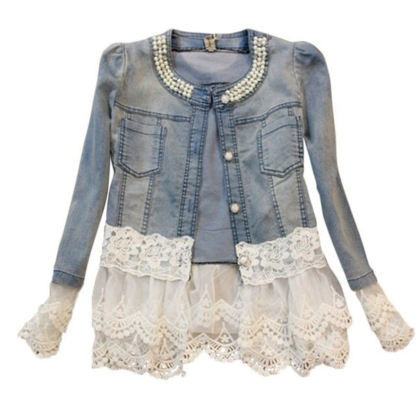 Vintage Lace Women Jacket Coat Plus Size Beaded Denim Spring Slim Fit Stitching O Neck Short - Center Of Treasures