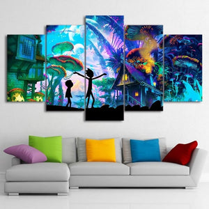 Artsailing Rick And Morty Funny Canvas Art Rick And Morty Painting Rick And Morty Poster Modular Pictures Wall Pictures Set - Center Of Treasures