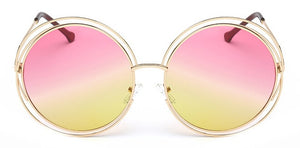 Vintage Round Big Size Oversized lens Mirror  Sunglasses Women Brand Designer Metal Frame Lady Sun Glasses  Lady Cool Retro - Center Of Treasures