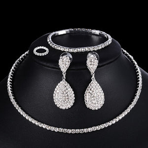 4 PCS Luxury Wedding Bridal Jewelry Sets for Brides Women Necklace Bracelet Ring Earring Set Elastic Rope Silver Crystal Jewelry - Center Of Treasures