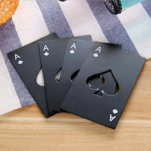 Black/Silver Poker Card  Spades Beer Bottle Opener Personalized Stainless Steel Bottle Opener Bar Tool - Center Of Treasures
