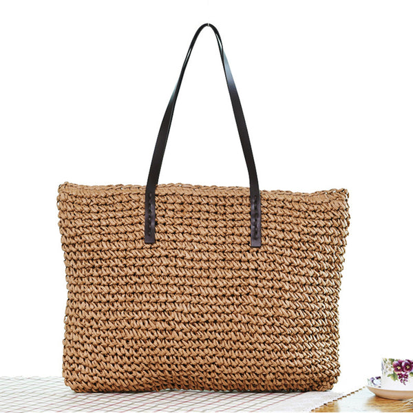 Women Handbag Rattan Woven Handmade Knitted Straw Large Capacity Totes Leather Shoulder Bag Bohemia - Center Of Treasures