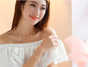 Imitation Pearl Jewelry Set Simulated Pearl Double Layer Women Earrings Necklace Bracelet Sets for Wedding N271 - Center Of Treasures