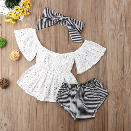 3pcs Toddler Baby Girl clothes set Lace  hollow out  short sleeve Top +Stripe Shorts +headband 3Pcs Outfits set clothes - Center Of Treasures