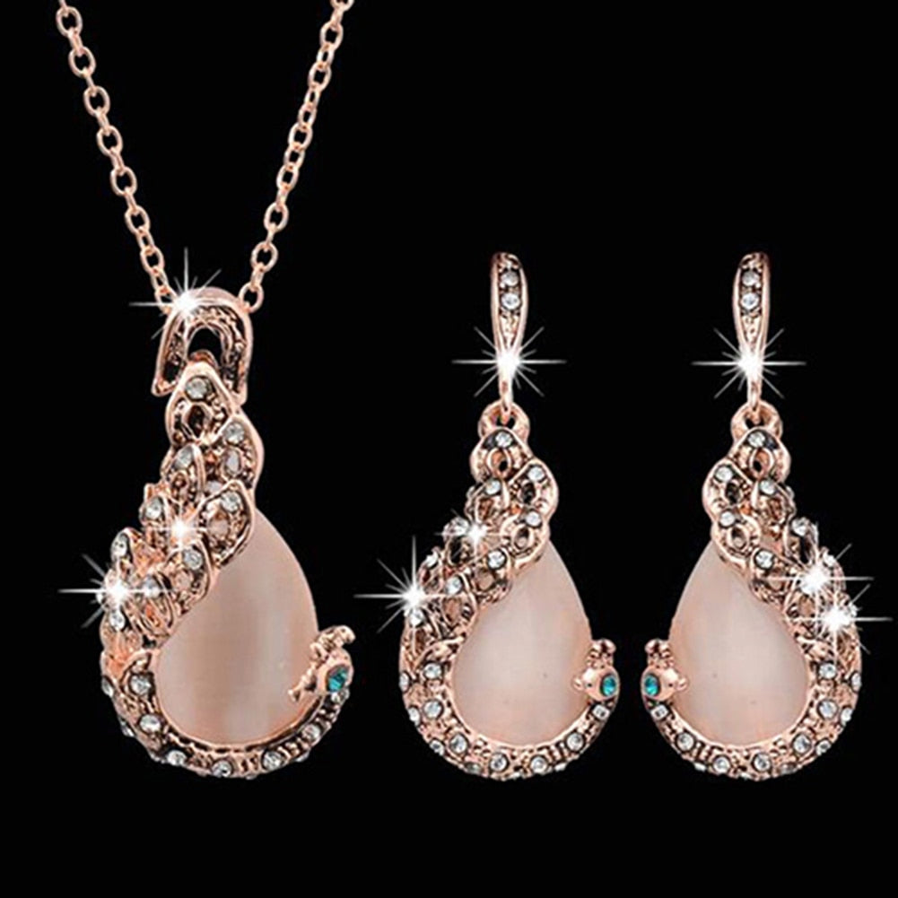 Women Elegant Waterdrop Rhinestone Pendant Necklace Hook Earrings Jewelry Set - Center Of Treasures