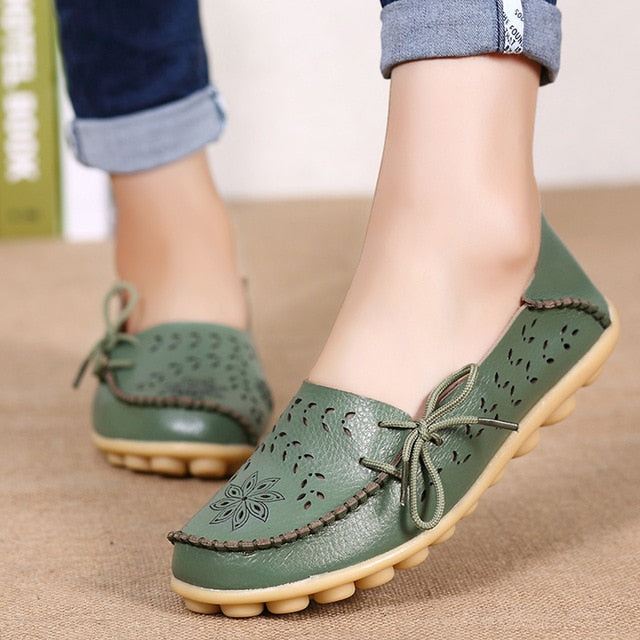 Women Flats Women Genuine Leather Shoes Slip On Loafers Woman Soft Nurse Ballerina Shoes Plus Size 34-44 Casual Sapato Feminino - Center Of Treasures