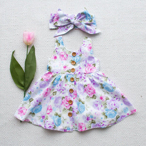 Toddler Kids Baby Girl Floral tank dress match headband Summer button sleeveless sundress infant girl Clothes - Center Of Treasures