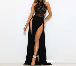 Sexy Evening Elegant Dress Halter Lace Patchwork Black Long Dress Backless High Split