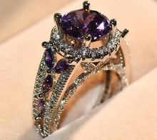 Purple Zircon Ring Stylish Round Stone Feb Birthstone For Women Vintage Finger Ring Bridal Wedding Jewelry Lover Gifts - Center Of Treasures